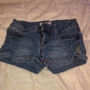 Light blue denim booth shorts